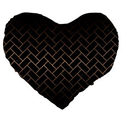 Brick2 Black Marble & Bronze Metal Large 19  Premium Flano Heart Shape Cushion by trendistuff