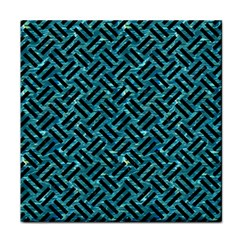 Woven2 Black Marble & Blue Green Water (r) Tile Coaster by trendistuff