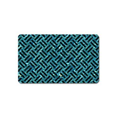Woven2 Black Marble & Blue Green Water (r) Magnet (name Card) by trendistuff