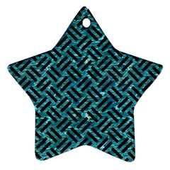 Woven2 Black Marble & Blue Green Water (r) Star Ornament (two Sides) by trendistuff