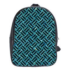 Woven2 Black Marble & Blue Green Water (r) School Bag (large) by trendistuff