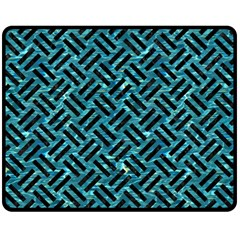 Woven2 Black Marble & Blue Green Water (r) Fleece Blanket (medium) by trendistuff