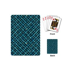 Woven2 Black Marble & Blue Green Water (r) Playing Cards (mini) by trendistuff