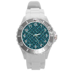 Woven2 Black Marble & Blue Green Water (r) Round Plastic Sport Watch (l) by trendistuff
