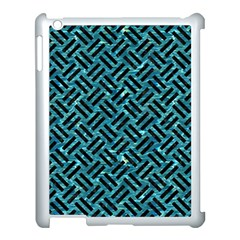 Woven2 Black Marble & Blue Green Water (r) Apple Ipad 3/4 Case (white) by trendistuff