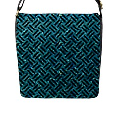 Woven2 Black Marble & Blue Green Water (r) Flap Closure Messenger Bag (l) by trendistuff