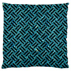 Woven2 Black Marble & Blue Green Water (r) Large Flano Cushion Case (two Sides)