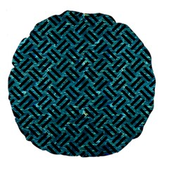 Woven2 Black Marble & Blue Green Water (r) Large 18  Premium Flano Round Cushion