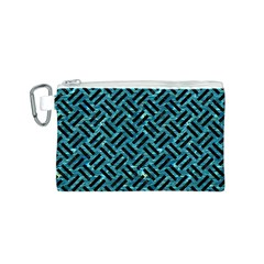 Woven2 Black Marble & Blue Green Water (r) Canvas Cosmetic Bag (small) by trendistuff