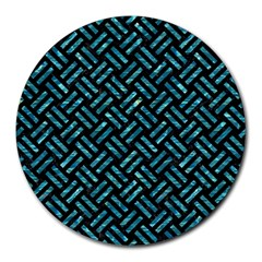 Woven2 Black Marble & Blue Green Water Round Mousepad by trendistuff