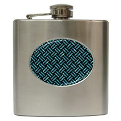 Woven2 Black Marble & Blue Green Water Hip Flask (6 Oz) by trendistuff
