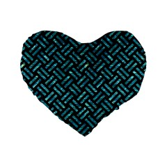 Woven2 Black Marble & Blue Green Water Standard 16  Premium Flano Heart Shape Cushion  by trendistuff