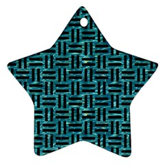 Woven1 Black Marble & Blue Green Water (r) Ornament (star) by trendistuff