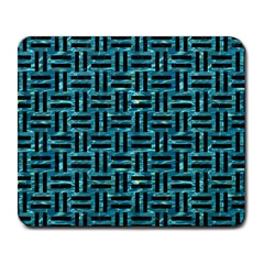 Woven1 Black Marble & Blue Green Water (r) Large Mousepad by trendistuff