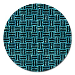 Woven1 Black Marble & Blue Green Water (r) Magnet 5  (round) by trendistuff