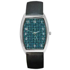 Woven1 Black Marble & Blue Green Water (r) Barrel Style Metal Watch by trendistuff