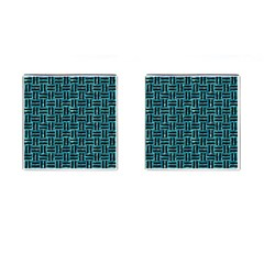 Woven1 Black Marble & Blue Green Water (r) Cufflinks (square) by trendistuff