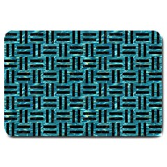 Woven1 Black Marble & Blue Green Water (r) Large Doormat by trendistuff