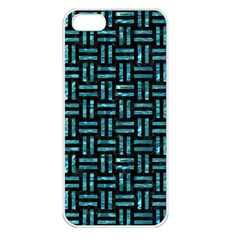 Woven1 Black Marble & Blue Green Water Apple Iphone 5 Seamless Case (white) by trendistuff