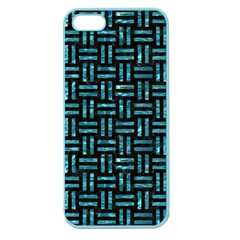 Woven1 Black Marble & Blue Green Water Apple Seamless Iphone 5 Case (color) by trendistuff