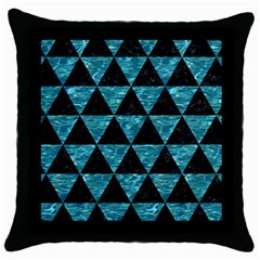 Triangle3 Black Marble & Blue Green Water Throw Pillow Case (black) by trendistuff