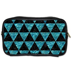 Triangle3 Black Marble & Blue Green Water Toiletries Bag (two Sides) by trendistuff