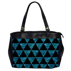 Triangle3 Black Marble & Blue Green Water Oversize Office Handbag by trendistuff