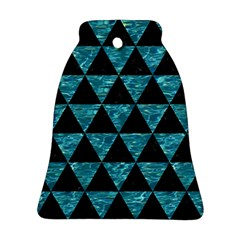 Triangle3 Black Marble & Blue Green Water Ornament (bell) by trendistuff