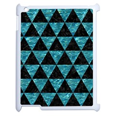 Triangle3 Black Marble & Blue Green Water Apple Ipad 2 Case (white) by trendistuff