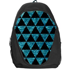 Triangle3 Black Marble & Blue Green Water Backpack Bag by trendistuff