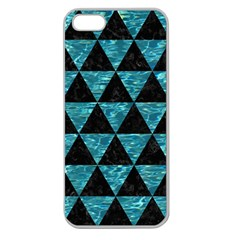 Triangle3 Black Marble & Blue Green Water Apple Seamless Iphone 5 Case (clear) by trendistuff