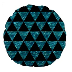 Triangle3 Black Marble & Blue Green Water Large 18  Premium Round Cushion  by trendistuff