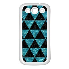 Triangle3 Black Marble & Blue Green Water Samsung Galaxy S3 Back Case (white) by trendistuff