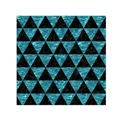 Triangle3 Black Marble & Blue Green Water Small Satin Scarf (square) by trendistuff