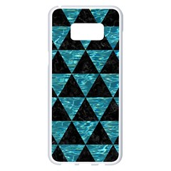 Triangle3 Black Marble & Blue Green Water Samsung Galaxy S8 Plus White Seamless Case by trendistuff