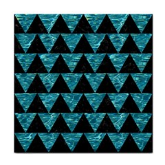 Triangle2 Black Marble & Blue Green Water Tile Coaster by trendistuff