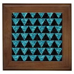 Triangle2 Black Marble & Blue Green Water Framed Tile by trendistuff