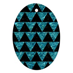 Triangle2 Black Marble & Blue Green Water Ornament (oval) by trendistuff