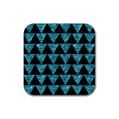 Triangle2 Black Marble & Blue Green Water Rubber Square Coaster (4 Pack) by trendistuff