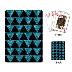 Triangle2 Black Marble & Blue Green Water Playing Cards Single Design by trendistuff