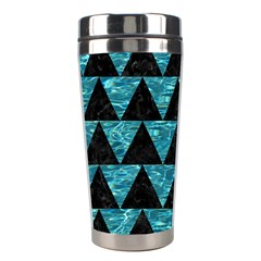 Triangle2 Black Marble & Blue Green Water Stainless Steel Travel Tumbler by trendistuff