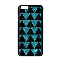 Triangle2 Black Marble & Blue Green Water Apple Iphone 6/6s Black Enamel Case by trendistuff