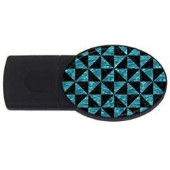 Triangle1 Black Marble & Blue Green Water Usb Flash Drive Oval (2 Gb) by trendistuff
