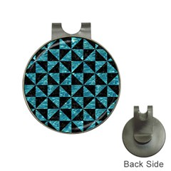 Triangle1 Black Marble & Blue Green Water Golf Ball Marker Hat Clip by trendistuff