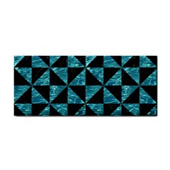 Triangle1 Black Marble & Blue Green Water Hand Towel by trendistuff