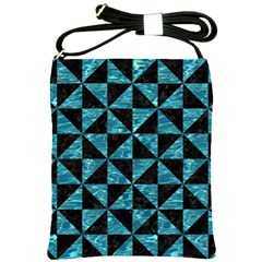 Triangle1 Black Marble & Blue Green Water Shoulder Sling Bag by trendistuff