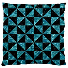 Triangle1 Black Marble & Blue Green Water Large Cushion Case (two Sides) by trendistuff