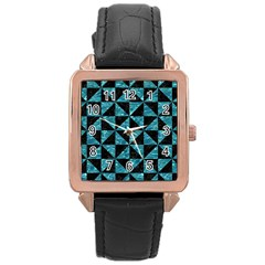 Triangle1 Black Marble & Blue Green Water Rose Gold Leather Watch  by trendistuff