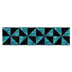 Triangle1 Black Marble & Blue Green Water Satin Scarf (oblong) by trendistuff