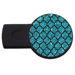 Tile1 Black Marble & Blue Green Water (r) Usb Flash Drive Round (2 Gb) by trendistuff